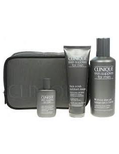 Clinique Skin Supplies Men (Gel Rasatura+Esfoliante Viso+Dopobarba+Pochette)