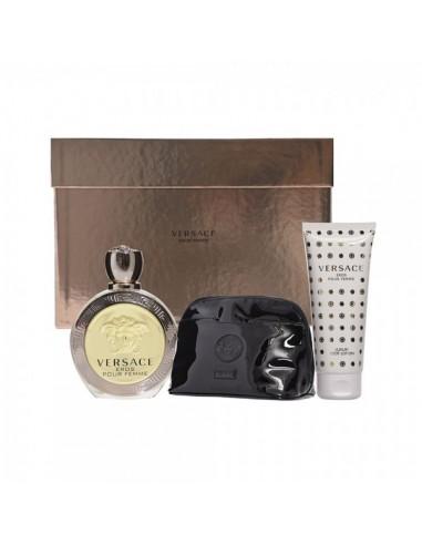 Versace Eros Donna Cofanetto . Eau de Toilette 100 ml + Body Lotion + Pochette Versace