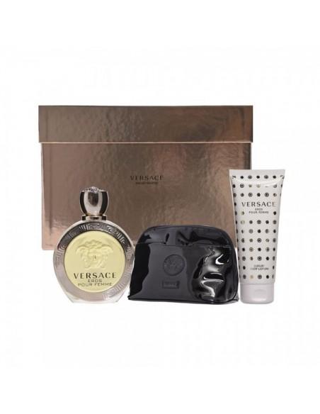 Versace Eros pour Femme Set - Eau de Toilette 100 ml + Body Lotion 100 ml + Pochette Versace